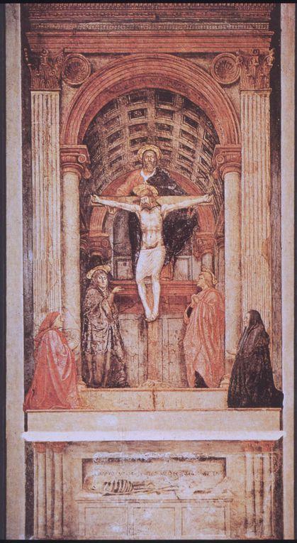 Lamentation de Giortto, Annonciation de Fra Angelico, la Trinité de Masaccio, Nymphe Galatée de Raphaël, Homme au Gant du Titien, l'Orage de Giorgione