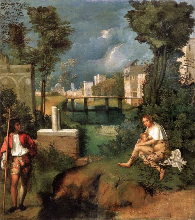 Giotto's lamentation, Fra Angelico Annunciation, Masaccio's Trinity, Nymph Galatea by Raphaël, Man with a Glove by Titian, Giorgione's Thunderstorm