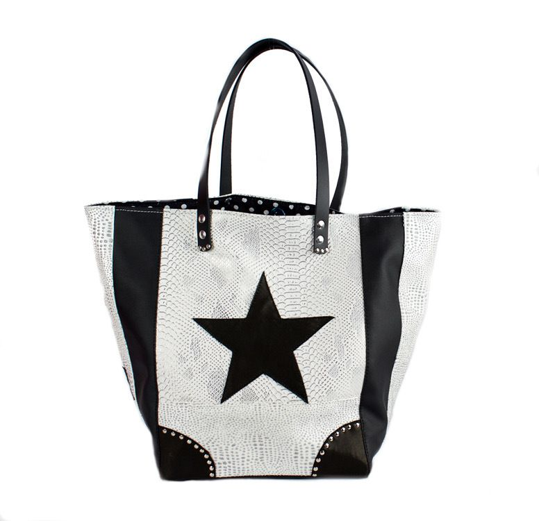 SAC CABAS &quot&#x3B;BLACK &amp&#x3B; WHITE &quot&#x3B;