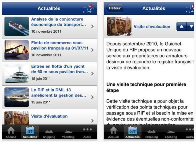 captures d'écran de l'application App Store du Registre International Français (RIF)