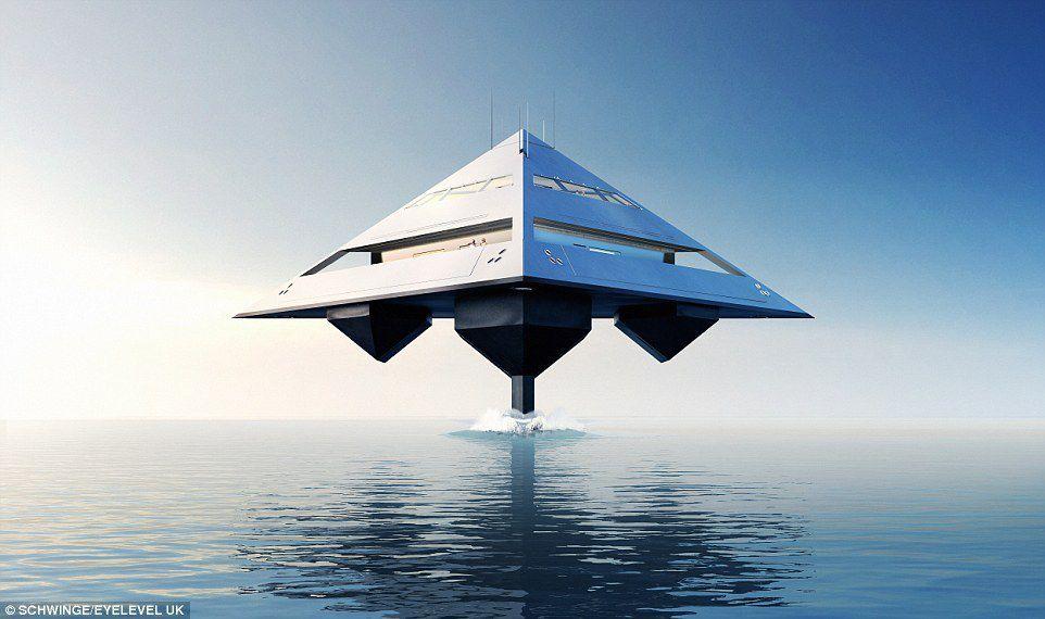 Tetrahedron, le superyacht qui semble léviter au dessus des flots