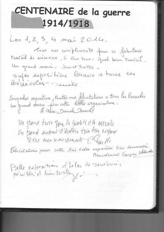 Extrait du Livre d'Or : messages des visiteurs de l'expostion 1914-1918