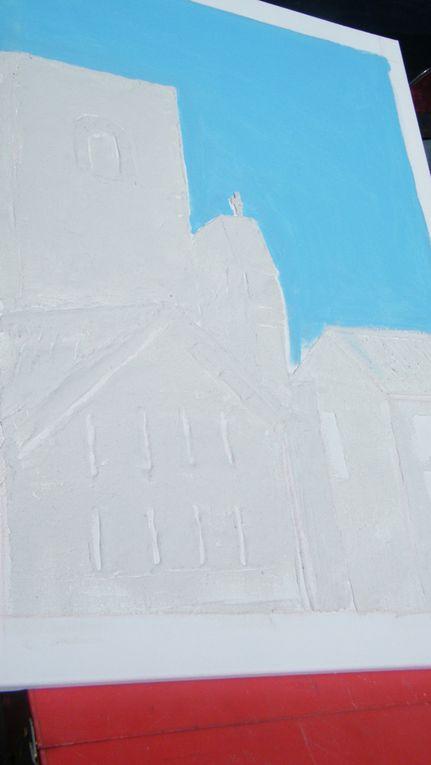 """l'église de Lieuran, """"travail en peinture dans la rue"""""""