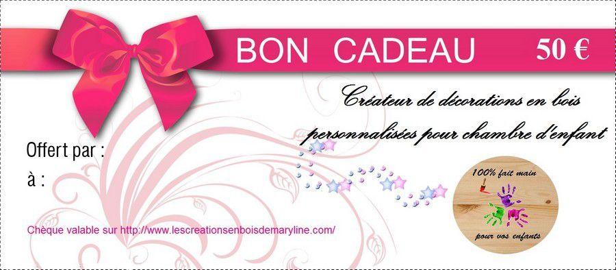 Chèque cadeau d'une valeur de 50, 75 ou 100 euros valable sur le site http://www.lescreationsenboisdemaryline.com/