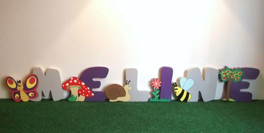 Lettre en bois pour prénom enfant dans le thème jardin