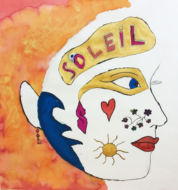 """L'idée de ce travail était d'inventer un maquillage de cirque en se basant sur le style du célèbre """"Cirque du soleil"""""""