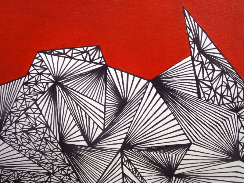 Graphic composition n°2 - Acrylic and marker on canvas