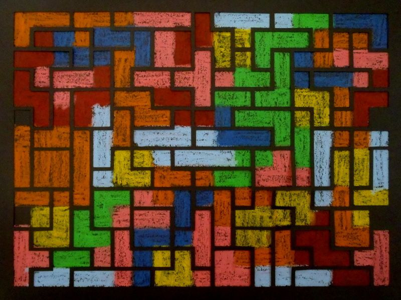 Video game - Oil pastel and papercut