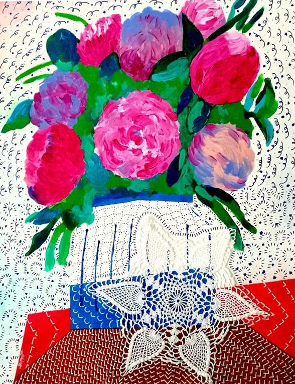 Bunch of Flowers - Acrylic on paper - 40*50 cm