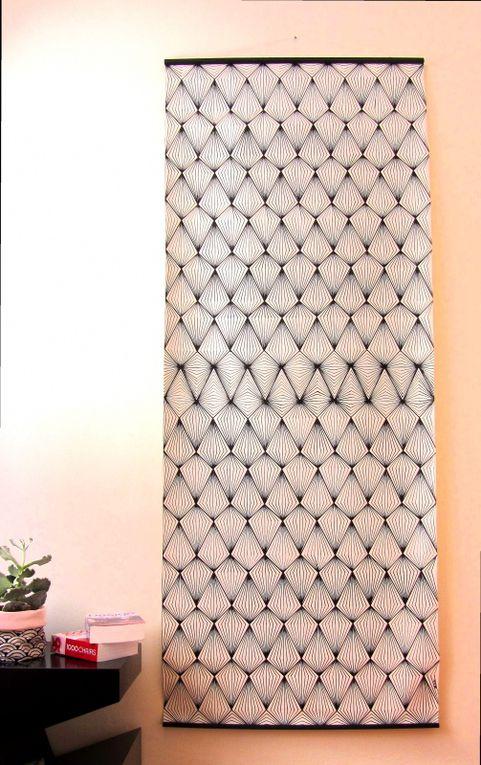 Losanges noirs - Acrylique sur toile, 200*80 cm, 2017