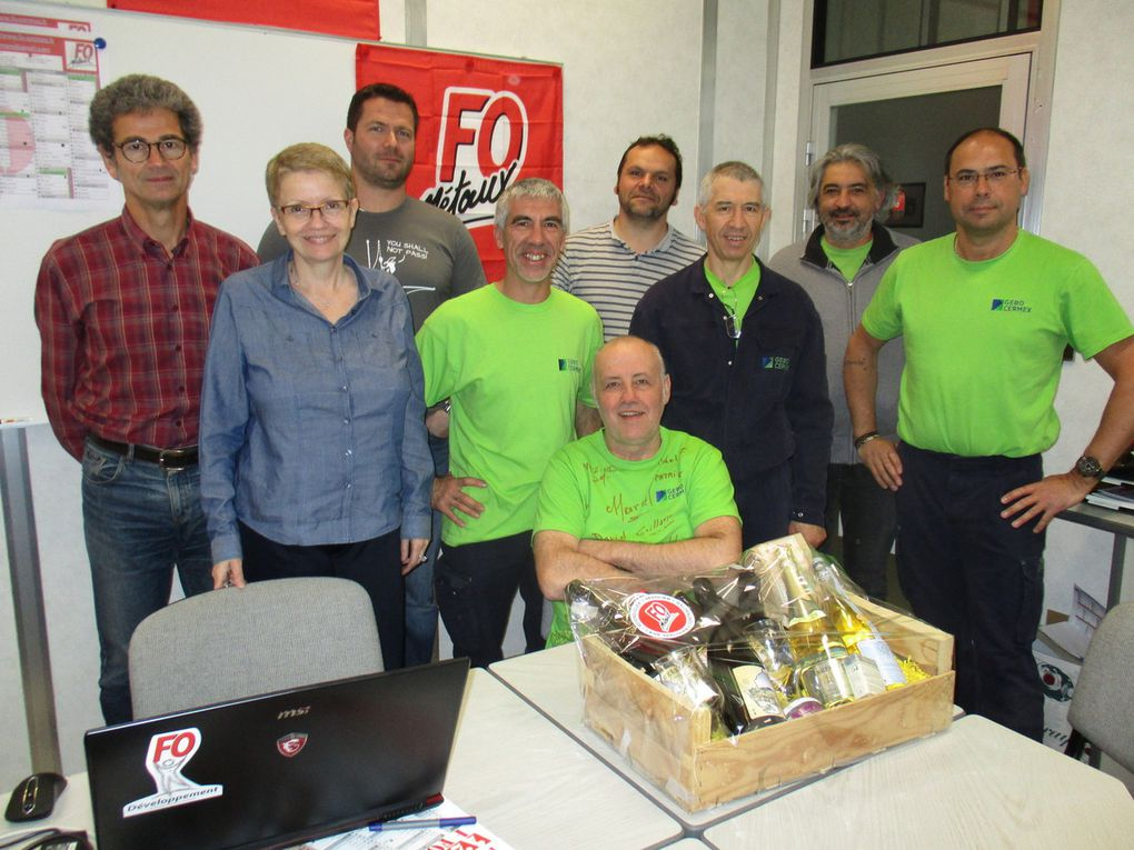 Photos de Jean-Paul avec quelques camarades du Syndicat FO Cermex