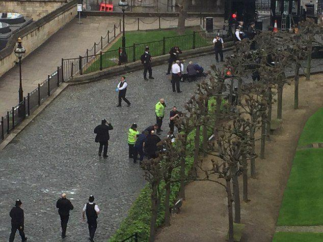 Imagen fuera del Parlamento de Londres, el sospechoso ha sido abatido por la policía