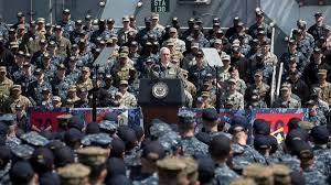 Pence habló ante 2.500 marines en el portaaviones Ronald Reagan