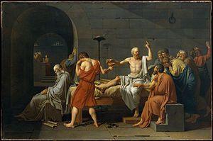 "Óleo sobre lienzo: ""La muerte de Sócrates"", Jacques-Louis David&#x3B;  ""Pitágoras"", Sanzio&#x3B; Fresco (Detalle), Rafael"