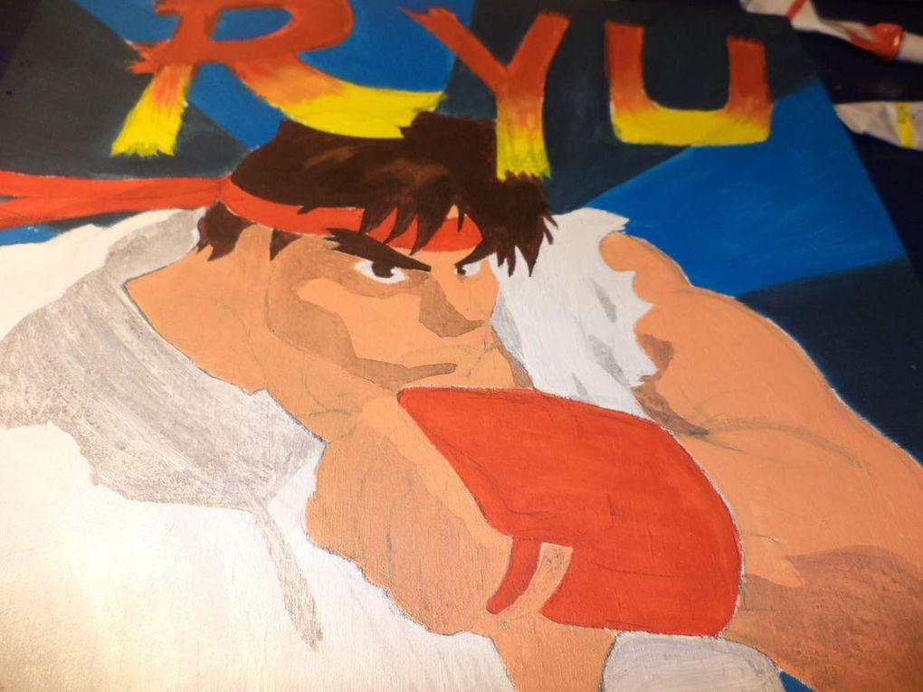 Cuadro de Ryu Street Fighter pintado a mano con acrílicos