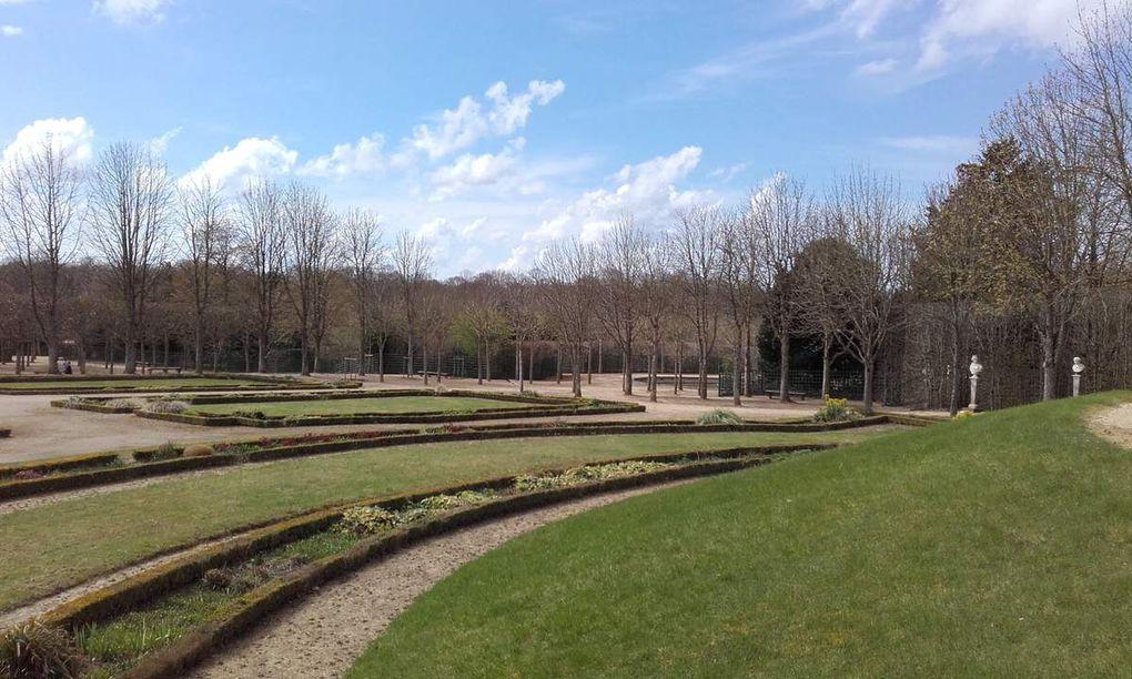 Photos 1 à 8. Visite vers le Petit Trianon, jardin (1). Au fond du jardin (2). Arbuste taillé (3). Le petit Trianon (4). L'escalier (5). La salle de musique (6). Marie-Antoinette (7). Le billard bleu (8)