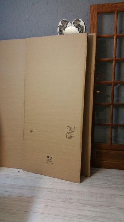 Carton triple épaisseur, règle, cutter, shéma dnécessaire pour visualiser le projet) colle à bois, carton plus fin, rouleau de papier gommé, paier journal