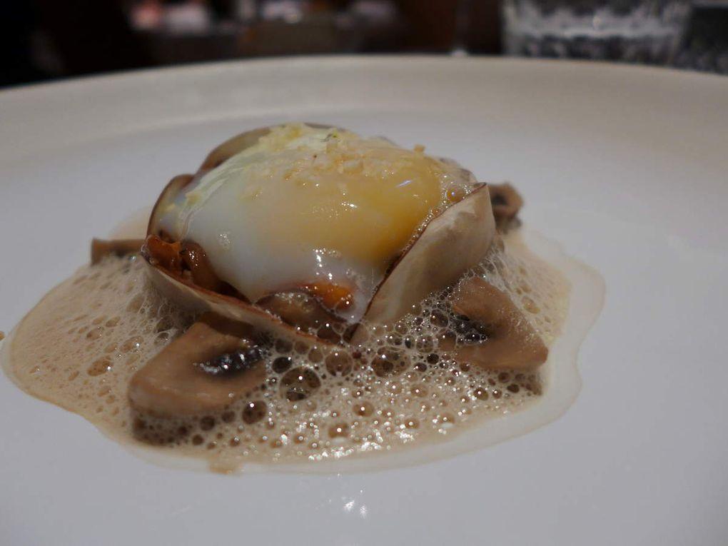 Rouget, Huîtres, Ravioles au pélardon, Oeuf parfait et champignons, Boeuf, Saint-Pierre, Poires, Mirabelles