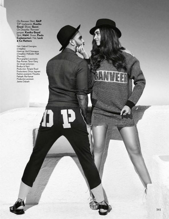Bollywood actors Deepika Padukone & Ranveer Singh for Vogue India
