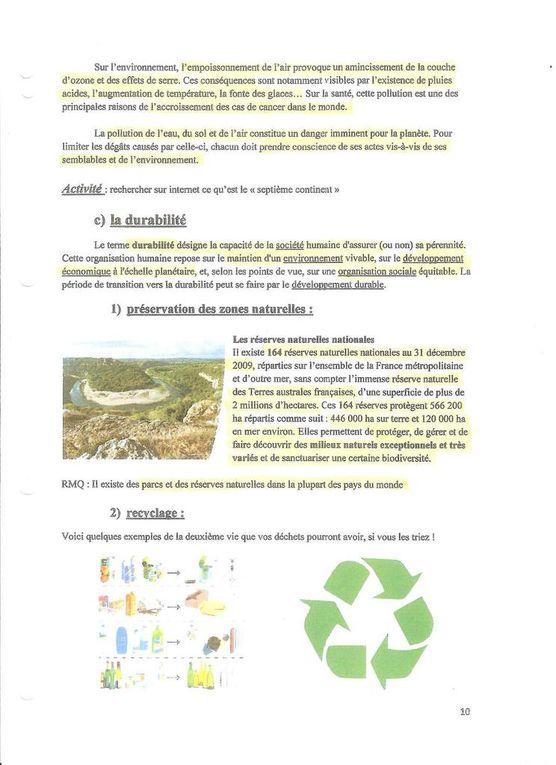 Ecologie : Interactions entre les EV et leur milieu de vie dans un contexte de Développement Durable