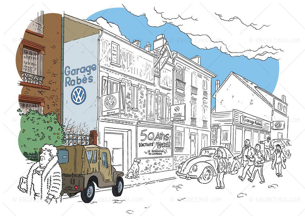 un garage dans le style Hergé