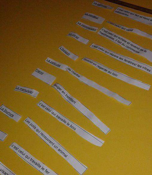 Travail de vocabulaire : retrouver la définition des mots vus en classe