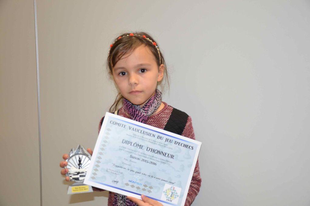Championnat de Vaucluse Echecs Jeunes, remise des prix et récompenses