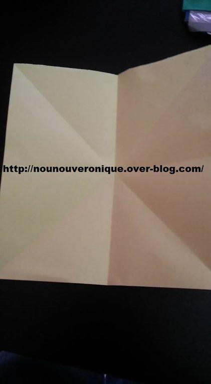 couper un carré dans une des feuilles colorée puis la plier en 2 en diagonale, puis dans l'autre diagonale, encore en 2 vers le haut, puis sur le côté. (voir photo 2). Plier ensuite comme indiqué sur la photo 3, pour arrivé au resultat de la photo 4 et 5. Plier ensuite en 2 comme sur la photo 6. Couper un arrondi pour obtenir une fleur (voir photo 7). Faire la même chose sur la deuxieme feuille colorée mais avec un carré plus petit. Coller la plus petite fleur sur la plus grande après que l'enfant l'ai décorée. Mettre le message de choix sur la petite fleur. Dessiner puis découper des feuilles sur une feuilles colorée verte. Sotcher la fleur sur une paille et faire pareil avec les feuilles. Coller le goodies sur la pince. Replier la fleur et maintenir avec la pince.
