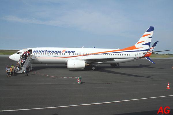 """Le Boeing 737 OK-TVU de la compagnie Tchec """"SmartWings.com""""."""