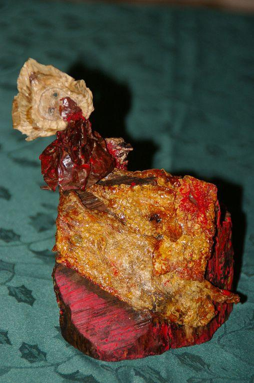 Bois- teinture de chélidoine- peinture- argile- os- graine- cuirs végétaux .