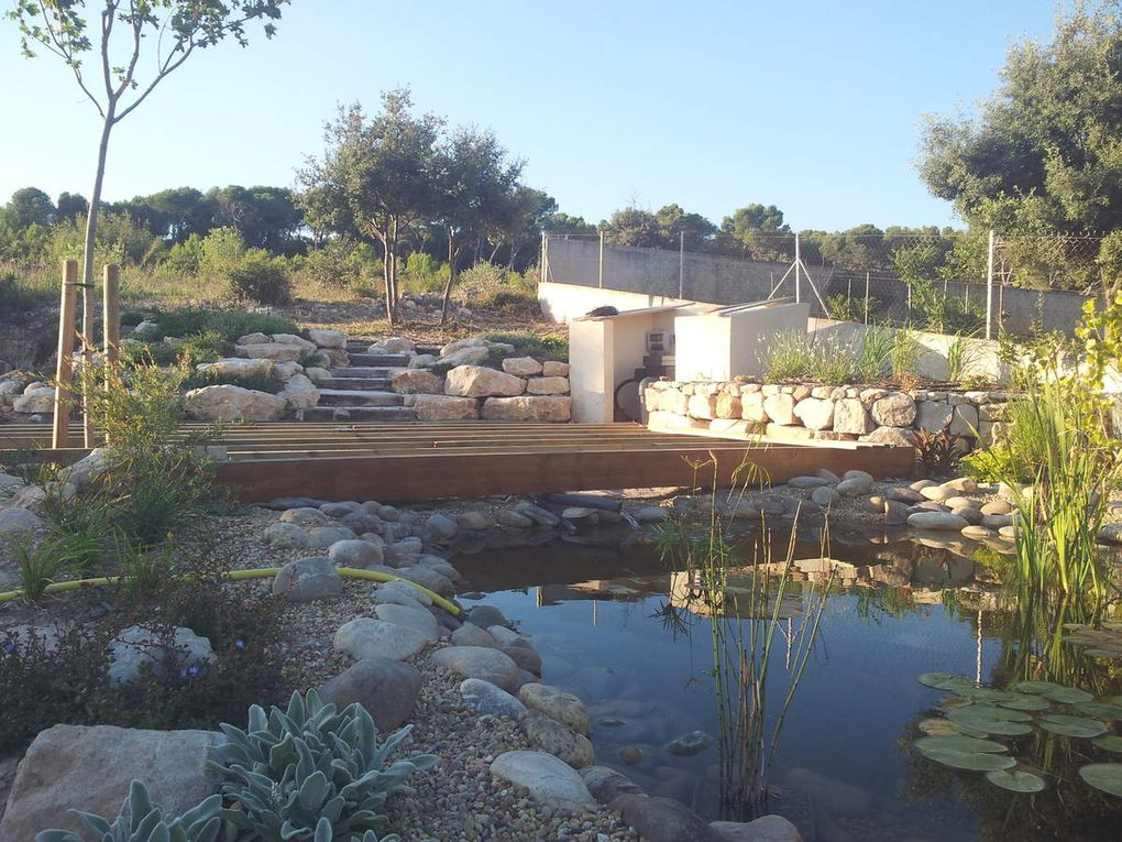 Réalisation d'une terrasse en bois entre le local technique et le bassin