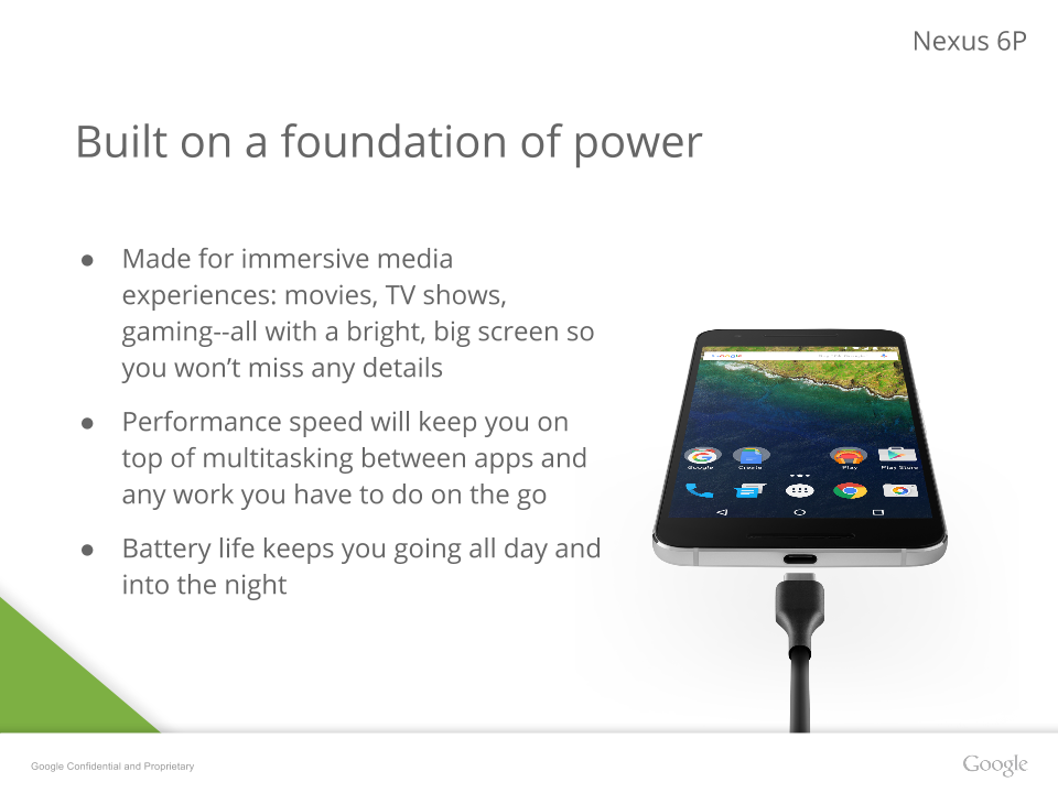 Nexus 6P Presentation Leak Includes More Detailed Images and Specs, Confirms Gorilla Glass 4, Metal Body, And 3450mAh Battery