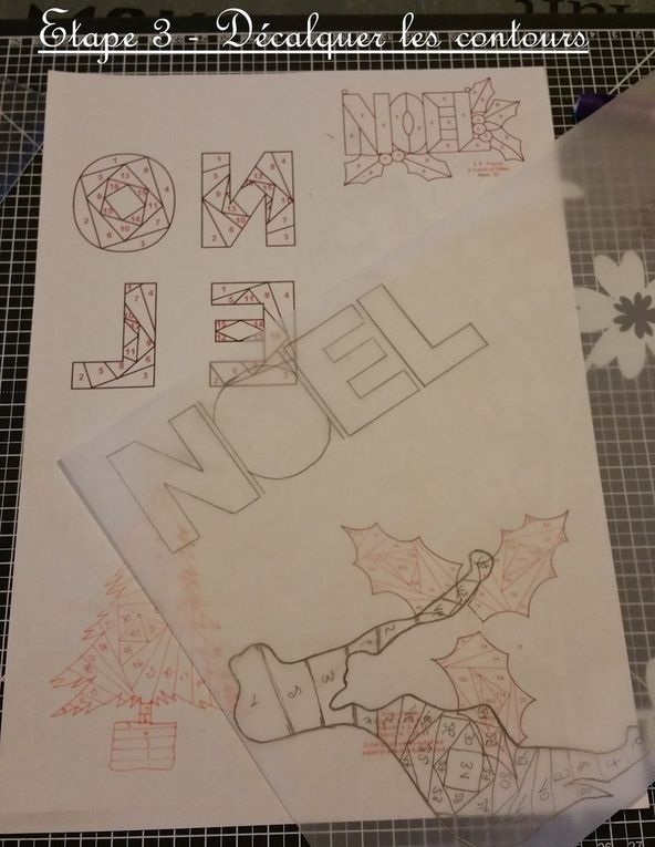 Carte - Noel - 2015 - Folding Iris - Sapin - Houx - NOEL - Flocons - Boules - Tampons - Papier Scrap - Fait Main