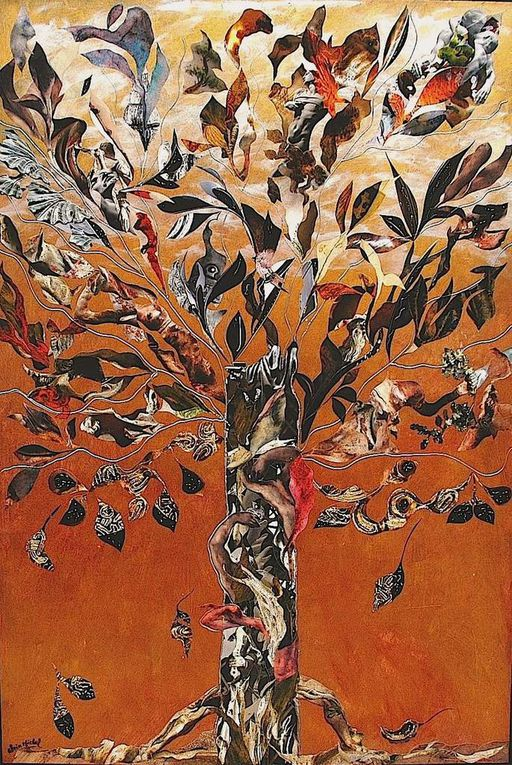 Collage sur carton et bois (60 x 80)