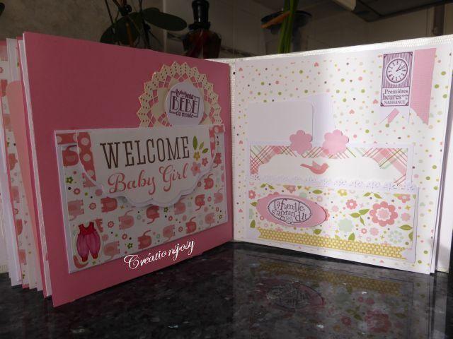 album de naissance pour une petite fille, avec de nombreuses pochettes ,plus de 50 photos , il mesure 21cmx20,5cm, de nombreuses décos ,dantelle , fleurs etc......
