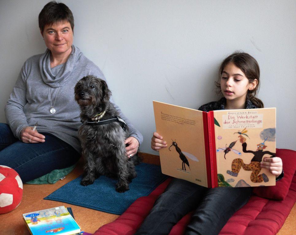 Ein tolles Projekt: Gymnasiallehrerin Ina Damas nimmt mit ihrem  Lesehund Elvis Veitshöchheimer Grundschülern die Leseangst