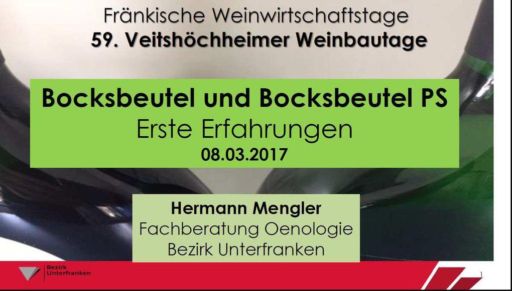 Der Bocksbeutel PS! - Hermann Mengler, Bezirk Unterfranken berichtete über erste Erfahrungen aus der Praxis aufgrund der Ergebnisse einer Umfrage.
