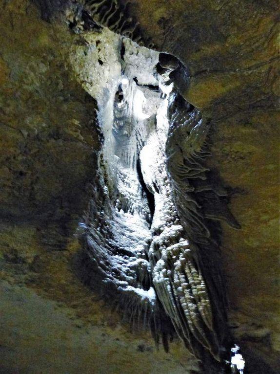 """Über Jahrtausende sind hier traumhafte Tropfsteingebilde entstanden: Stalagmiten, wie der riesige """"Millionär"""", oder bis zu fünf Meter lange """"Sinterfahnen"""".  Abends können hier die Besucher bei """"Sophie at night"""" die Höhle, faszinierend ausgeleuchtet und erfüllt von wunderbarer Musik erleben, über die der Führer am Ende einen kurz erklingenden Eindruck vermittelte."""