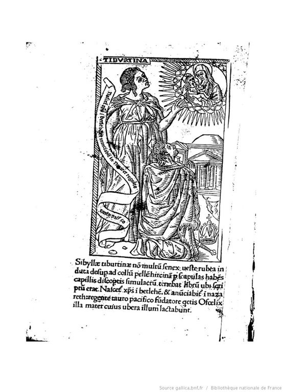 La Sibylle de Tibur selon Baccio  Baldini (1470-1480), Filippo Baldieri (1481),  les Heures de Louis de Laval (avec la page de typologie en regard).