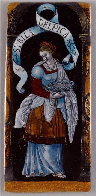 La sibylle Delphique selon Baldini (1470-1480), Baldieri (1481),  les Heures de Louis de Laval (avec la page de typologie en regard), et Léonard Limosin vers 1535