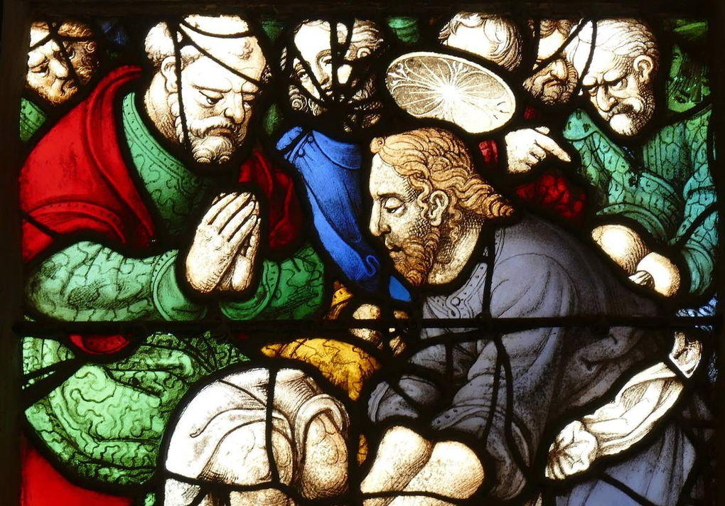 Le Lavemenbt des pieds, 1539, maîtresse-vitre de l'église Saint-Yves de La Roche-Maurice. Photographie lavieb-aile septembre 2017.