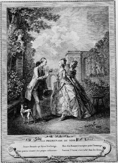 Jean-Michel Moreau, ditMoreau le Jeune (1741 – 1814 ), est undessinateuretgraveurfrançais.   Les œuvres les plus connues de la carrière prolifique de Moreau le Jeune, dont l'œuvre dépasse les 2000 pièces, sont en particulier  les vingt-quatre illustrations transcrivant les costumes et les intérieurs à la mode dans les dernières années de l'Ancien Régime