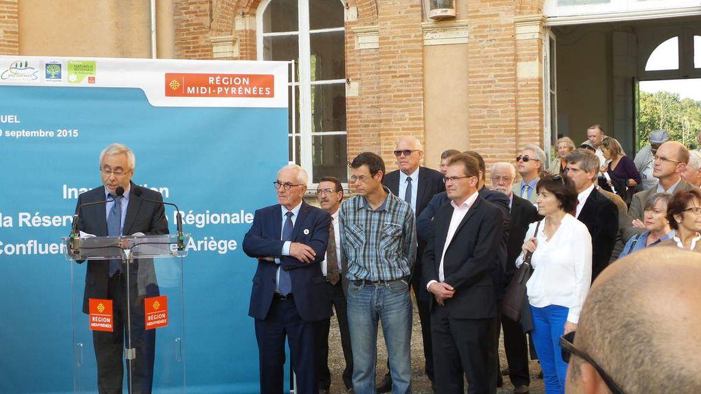 Photo©Pascale L. 2015 - Le Préfet de Région en présence du Président de Région et du Président de Nature Midi-Pyrénées.JL Coll Maire de Pinsaguel, Président de Confluences Garonne Ariège.