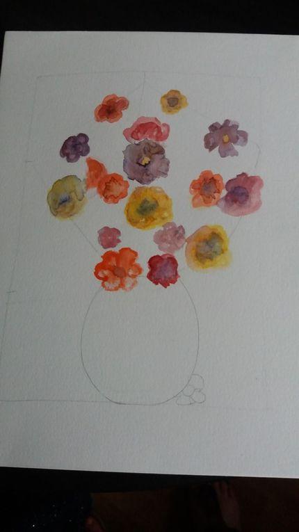 Un bouquet de fleurs dans un vase d'après une aquarelle prise dans un livre .