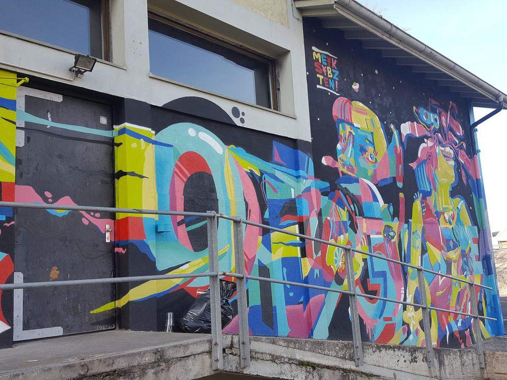 Fresque réalisée en 2016 sur les murs du Pont Rouge durant le festival HikEtNunk
