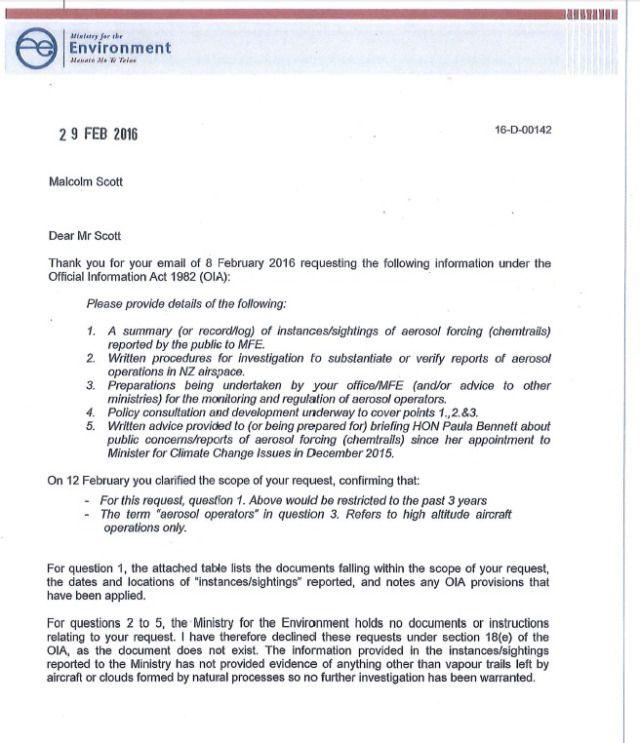 Nouvelle-Zélande : politique de déni du Ministère de l'Environnement sur les opérations d'aérosols atmosphériques en cours