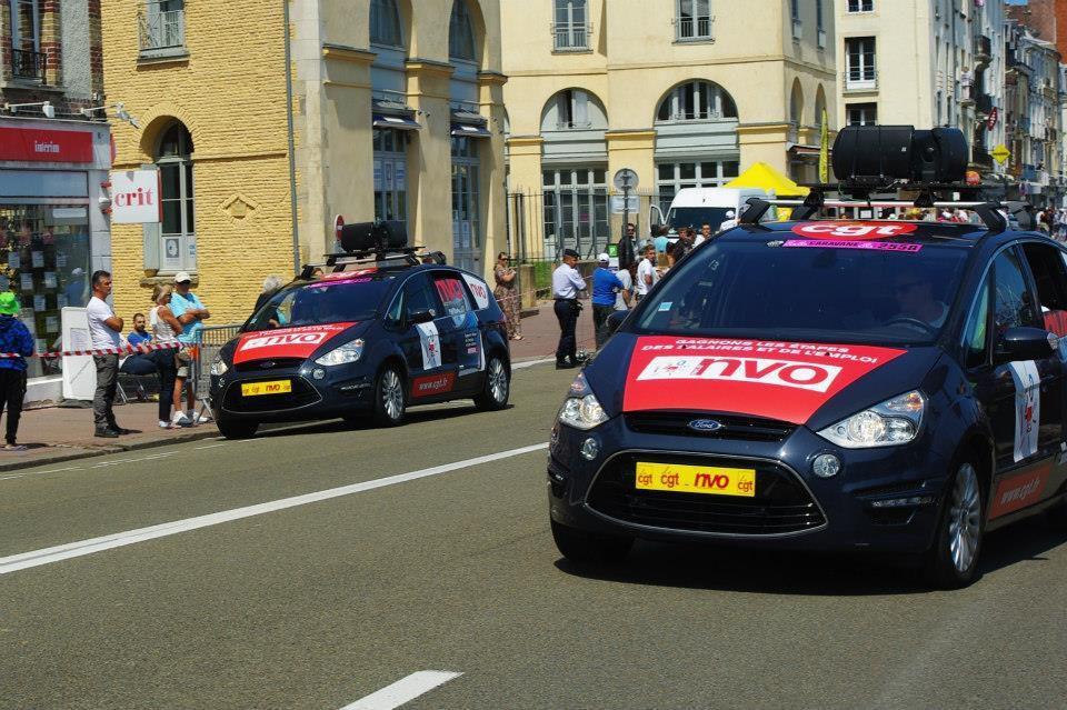 Dieppe: Passage du tour de France de vant le stand de la CGT
