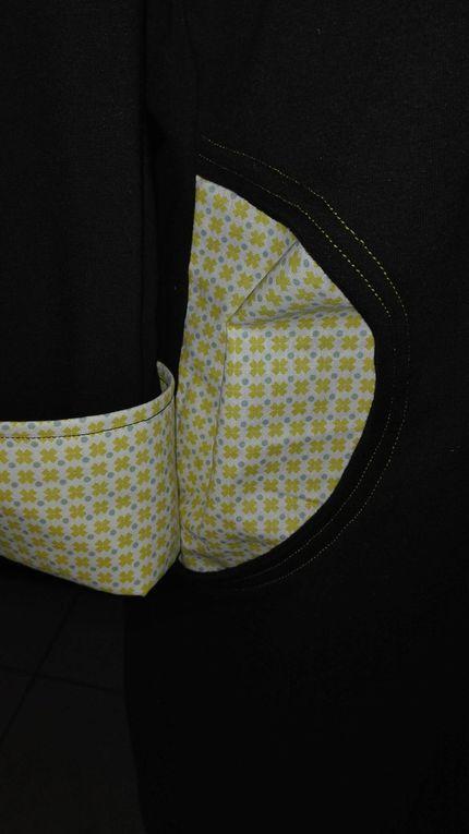 Detail col, manchettes, poches avec tissu contrastant.