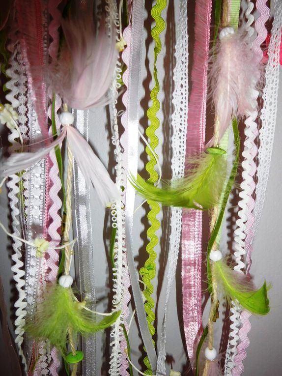 Attrape-rêve printanier rose et vert grand modèle