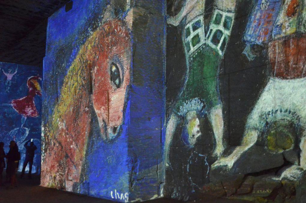 Projections monumentales sur les parois. Le public, silencieux, déambule entre les galeries, tête en l'air, dans une demi-obscurité. Etrangeté...